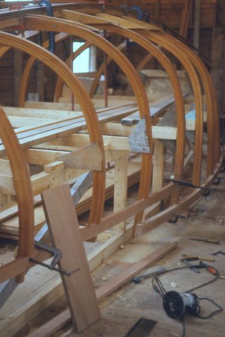 Frames erected on building jig, with keelson and sheer clamps